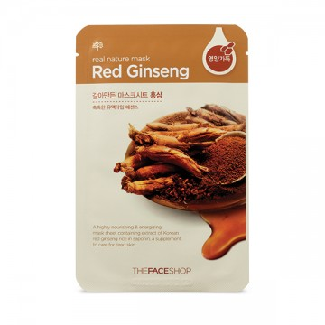 The Face Shop, Южная Корея The Face Shop Real Nature Mask Sheet Red Ginseng | Рост Ресниц